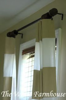diy wide striped curtains, less white. 1 strip at top and two or three at bottom. Or two in midd with one thin of accent color. Sew onto current set. Tie backs to match accent?
