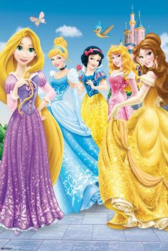 Disney Princess Poster and Frame (Plastic) - Princess, Once Upon A Time x 24 inches): Included in delivery: print and branded picture frame Frame Style: Economy Material: Plastic Colour: Black Pane: Acrylic Walt Disney Princesses, Disney Princess Facts, Princess Movies, Disney Princess Pictures, Disney Princess Dresses, Barbie Princess, Disney Pictures, Disney Posters, Disney Cartoons