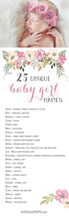 25 Unique Baby Girl Names and Meanings List forkidsandmoms Girl Names With Meaning, Names Girl, Kid Names, Short Girl Middle Names, Cute Baby Names, Unique Baby Names, Trendy Baby, Name Inspiration, Name List