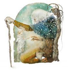 Oscar Wilde The Selfish Giant by Wladimir Dowgialo 19 Children's Book Illustration, Illustrations, Fairytale Art, Fantastic Art, Whimsical Art, Texture Painting, Art World, Watercolor Art, Book Art