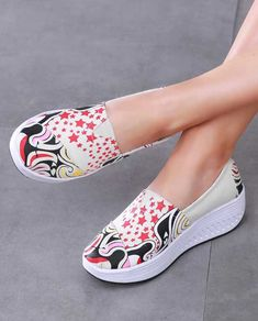 Women's slip on bottom sole shoe sneakers star & mixed pattern print, casual, leisure, walking occasions. Shape Up Shoes, Shoe Shop, Pattern Print, Designer Shoes, Shoe Boots, Espadrilles, Shoes Sneakers, High Heels, Walking
