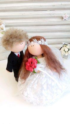Купить Текстильные куколки- Свадебная пара - интерьер, интерьерная кукла, кукла в подарок, кукла