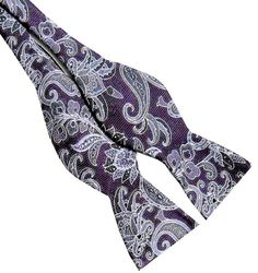 Purple Gray Paisley  2.5 Silk Self-tie Bow Tie
