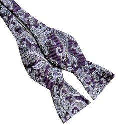Purple Gray Paisley  2.5 Silk Self-tie Bow Tie