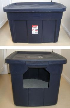 The $6 Litter Box Hider | 27 Useful DIY Solutions For Hiding The Litter Box Also...makes it impossible for the cats to do their business over the side of the cat pan.