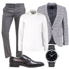 Outfit composto da giacca grigia raffigurante rose con chiusura bottoni e collo a scialle. Camicia bianca con collo kent. Pantaloni eleganti grigi con vita normale e cerniera nascosta. Scarpe stringate eleganti nere e per concludere l'outfit propongo orologio con quadrante nero, movimento al quarzo e chiusura a fibbia. Fashion Men, Fashion Styles, Dream Boy, Grown Man, Well Dressed Men, Man Style, Menswear, Costume, Suits