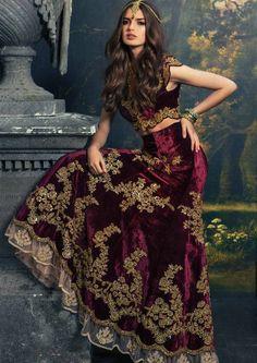 Indian Bridal - Deep Plum Velvet Lengha