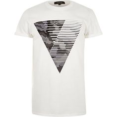White camouflage triangle print T-shirt $24.00