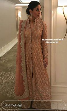 Let's take a moment to appreciate how royal Kareena Kapoor Khan looks in this rose gold outfit Red Lehenga, Lehenga Choli, Anarkali, Sarees, Sharara, Bridal Lehenga, Sabyasachi, Indian Attire, Indian Ethnic Wear