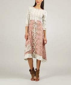 Love this Old Pink & Ecru Floral Boatneck Dress by Ian Mosh on #zulily! #zulilyfinds