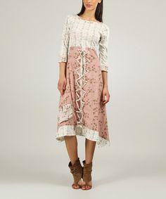 Old Pink & Ecru Floral Boatneck Dress #zulilyfinds