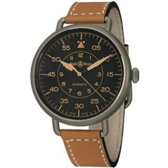 Bell  &  Ross Men's BRWW1-92HERITAG Vintage Tan Leather Strap Watch