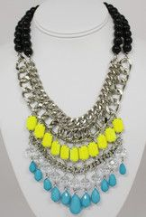 City Brights Neon Yellow and Turquoise Statement Necklace-$54-Find hot fashion jewellery and statement jewlry at Strike Envy. #jewellery #jewlry