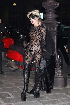 Lady Gaga, 2011. via @WWD heelless boot, shoe, leopard prints