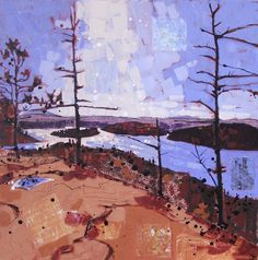 """view of rock lake from booth's rock  (algonquin park, ON)  mixed media on canvas, 24"""" x 24""""  $720   available at  The Gallery on Main"""