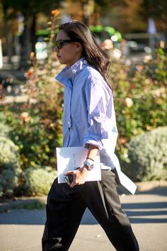 Striped Button Down | The Paris Way: Fashion Week Street Style - HarpersBAZAAR.com