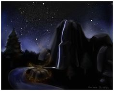 Waterfalls and Fireflies by ConcreteBubbles.deviantart.com on @DeviantArt