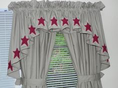 Tan Curtains with Red Stars
