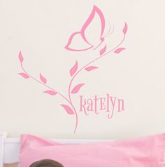 Butterfly Monogram wall decal kids name sticker, cute girls bedroom decorations