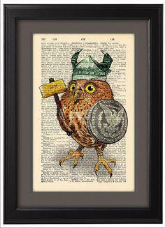 Owl funny print owl poster viking poster DICTIONARY by Natalprint