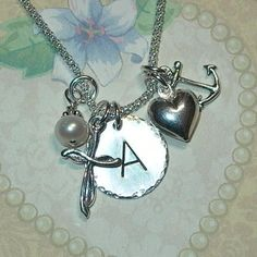 Faith Hope Charity Hand Stamped Sterling Silver Initial Charm Necklace by DolphinMoonCreations.com $38