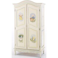 The French Full Door Armoire (shown in nursery rhymes theme) by Art For Kids is a beautiful piece. Hand painted in the nursery rhymes motif on a linen white base finish, the armoire suits any nursery or decor. The armoire itself is finely crafted Nursery Armoire, Baby Armoire, Nursery Furniture, Kids Furniture, Luxury Furniture, Painted Furniture, Nursery Rhyme Theme, Classic Nursery Rhymes, Nursery Decor