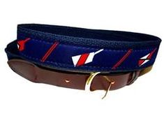 Club Room Mens Whale Web Belt Brown//Blue Combo 44