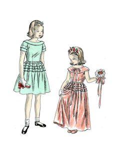 Vintage 1940s Flower Girl Dress Pattern by RebeccasVintageSalon