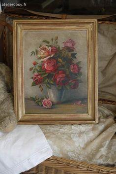 Tableau  ancien bouquet de roses Brocante de charme atelier cosy.fr