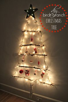 Make your own birch branch Christmas Tree with just a few supplies (and basically for FREE). Simple tutorial and easy to follow steps!