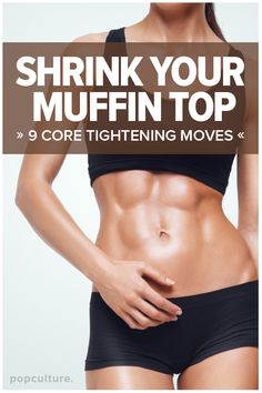 Want to work off that muffin top? You'll love this at-home, 9-move ab workout. Popculture.com #core #coreworkout #muffintopexercise #muffintopexercises #lovehandlesworkout #athomeworkout #fitness #workout #womenshealth