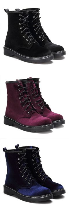 Velvet Lace-up Design Short Boots - New Shoes Styles & Design Sock Shoes, Cute Shoes, Me Too Shoes, Dream Shoes, Crazy Shoes, Heeled Boots, Bootie Boots, Mode Alternative, Boating Outfit