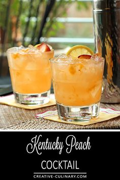 This Kentucky Peach Bourbon and Vodka Cocktail is wonderful and lighter than a s. This Kentucky Peach Bourbon and Vodka Cocktail is wonderful and lighter than a straight bourbon cocktail so it& perfect for summer. Lemonade Cocktail, Cocktail Drinks, Fun Drinks, Yummy Drinks, Beverages, Dessert Drinks, Grapefruit Cocktail, Peach Lemonade, Party Drinks