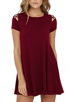 KORSIS Women s Summer Swing Dress Cold Shoulder Tunic Dresses at Amazon  Women s Clothing store  6f9d932c9