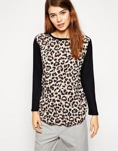 ASOS Top with Woven Front in Animal Print