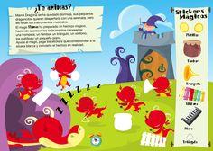 Diseño de pagina de actividades con dragones. Peanuts Comics, Art, Magic Spells, Page Layout, Music Instruments, Editorial Layout, Dragons, Activities, Projects