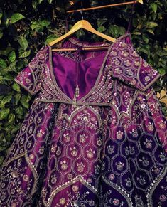 Material is pure raw silk with zardosi embroidery all over. It comes with a custom made dupatta. Indian Bridal Outfits, Indian Fashion Dresses, Indian Designer Outfits, Designer Dresses, Purple Lehnga, Red Lehenga, Designer Bridal Lehenga, Bridal Lehenga Choli, Lehenga Designs