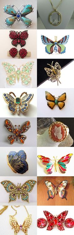 Butterflies - Vintage Jewelry from Vjt by moonbeam0923 on Etsy--Pinned+with+TreasuryPin.com
