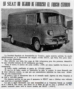 Seat 1400 furgón, 1955 Nostalgia, Faster Horses, Fiat Abarth, Steyr, Pedal Cars, Vans, Trucks, Retro, Vehicles