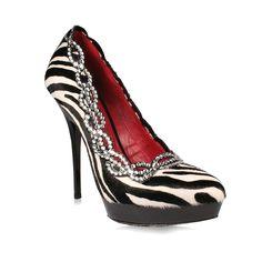 98d55fdea07844 Cesare Paciotti Womens Shoes Zebra Pony Platform Pumps w  Swarovski  Elements Material  Pony   Leather Hardware  Swarovski Crystals Color  Black    White ...