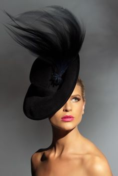 Richard Nylon Millinery, 'Film Noir' - Couture Headwear. Model: Sophie Van Den Akker. Photo: Brett Goldsmith.