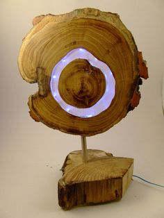 Wooden white LED lamp, Acaciawood with clear epoxy resin and white leds, for livingroom or office, modern, natural design