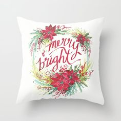 Merry & Bright watercolor wreath Throw Pillow by mjmstudio | Society6