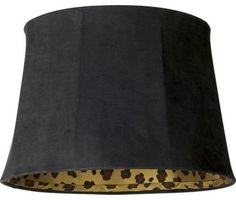Black with Gold Trim Lamp Shade 3x6x5 (Clip-On) - Style # 97580