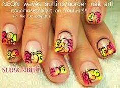 neon nail art - Buscar con Google