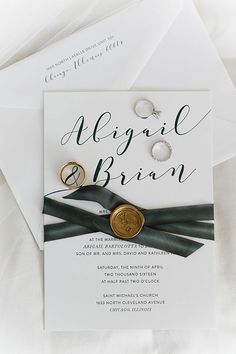 Spring Wedding in Chicago, Black and White Invitation Suite with Gold Foil Seal