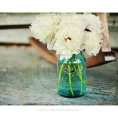 Peonies Aqua Blue Mason Jar Vase, White Peony Flowers Wedding Bouquet… ($40) …  Peonies Aqua Blue Mason Jar Vase, White Peony Flowers Wedding Bouquet… ($40) ❤ liked on Polyvore featuring home, home decor, backgrounds, flowers, ..  http://www.coolhomedecordesigns.us/2017/06/20/peonies-aqua-blue-mason-jar-vase-white-peony-flowers-wedding-bouquet-40/