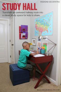 Transform an awkward hallway nook into a useful homework station.
