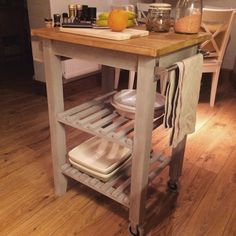 Bekvam Kitchen cart are a great space saver in the kitchen. In a smaller kitchen that does not have an island; a kitchen cart can serve as an island. Find Furniture, Furniture Makeover, Ikea Kitchen Cabinets, Ikea Kitchen Trolley, Ikea Bekvam, Large Open Kitchens, Studio Kitchen, Home Kitchens, Kitchen Remodel