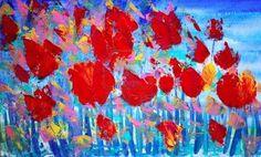 Abstracte rode bloemen schilderen op doek met acrylverf Stockfoto - 15285960